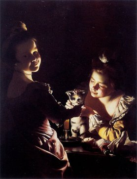 Two Girls Dressing a Kitten by Candlelight by Joseph Wright