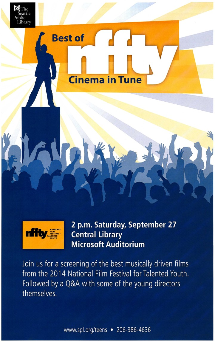 Poster for the National Film Festival for Talented Youth Event on September 27 at 2 PM at the Central Library
